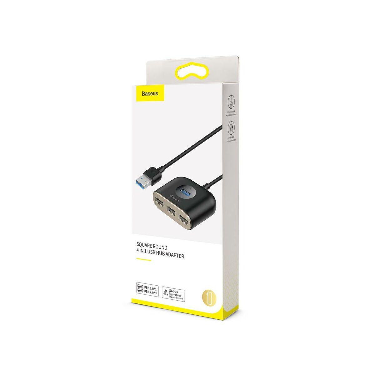 Baseus HUB, Square Round, 4-in-1 USB-A bemenetről USB Adapter USB3.0x1 + USB2.0x3 1m, fekete (CAHUB-AY01)