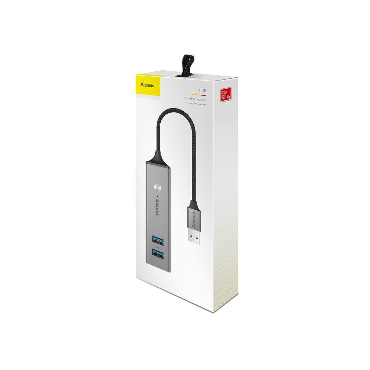 Baseus HUB, Cube (USB bementről - 3xUSB3.0 + 2xUSB2.0) adapter, sötétszürke (CAHUB-C0G)