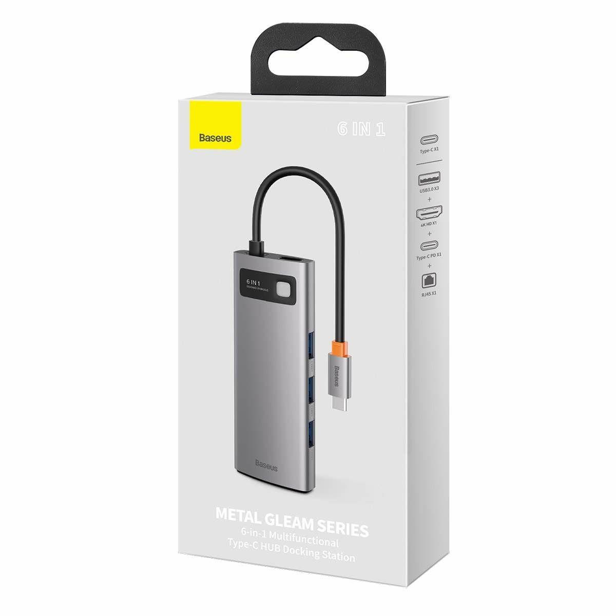 Baseus HUB Metal Gleam Series 6-in-1 Multifunkciós (Type-C bemenetről PD/4K HD/USB3.0) Dokkoló, szürke(CAHUB-CW0G)