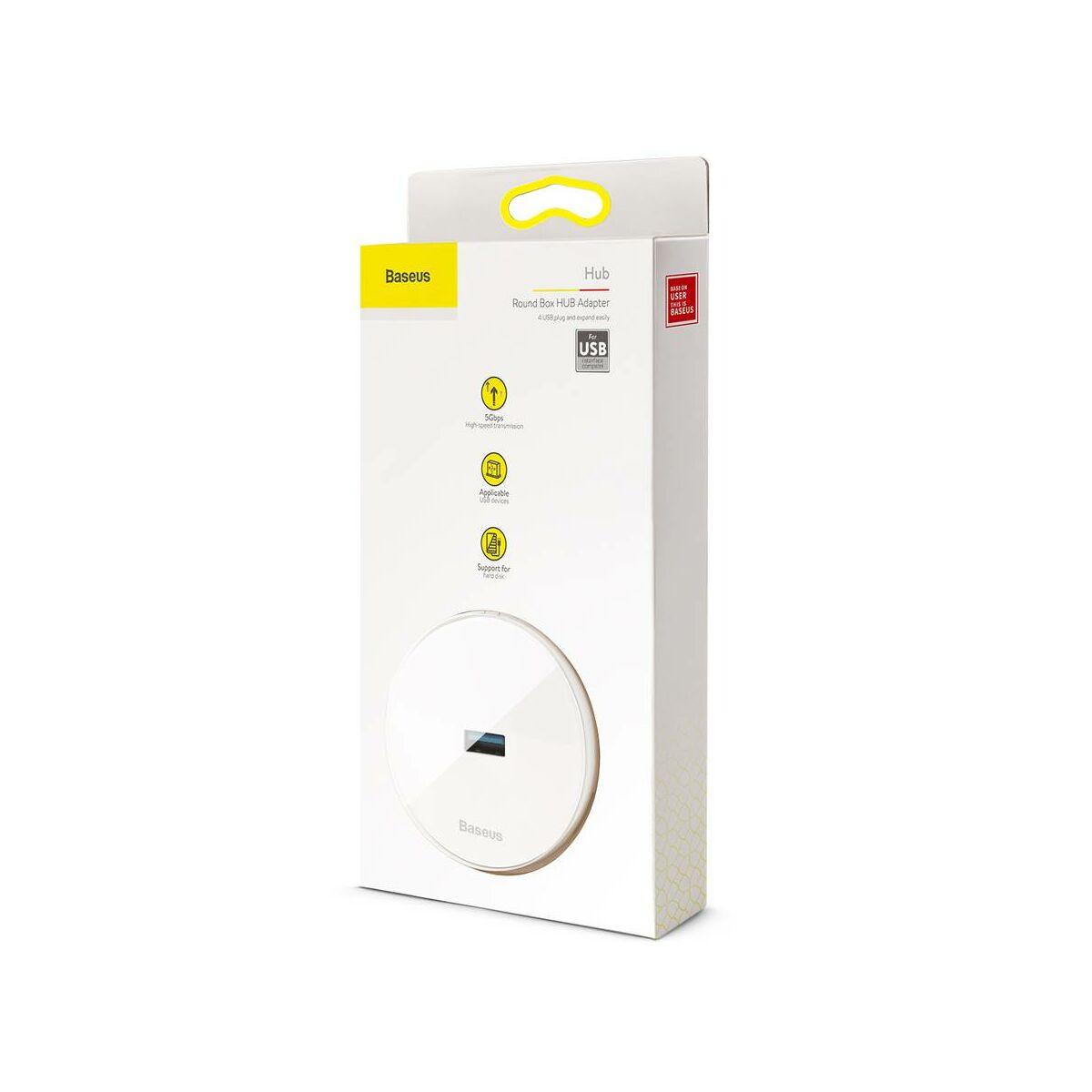 Baseus HUB, Round box (USB bemenetről - 1xUSB3.0 + 3xUSB2.0) adapter, fehér (CAHUB-F02)