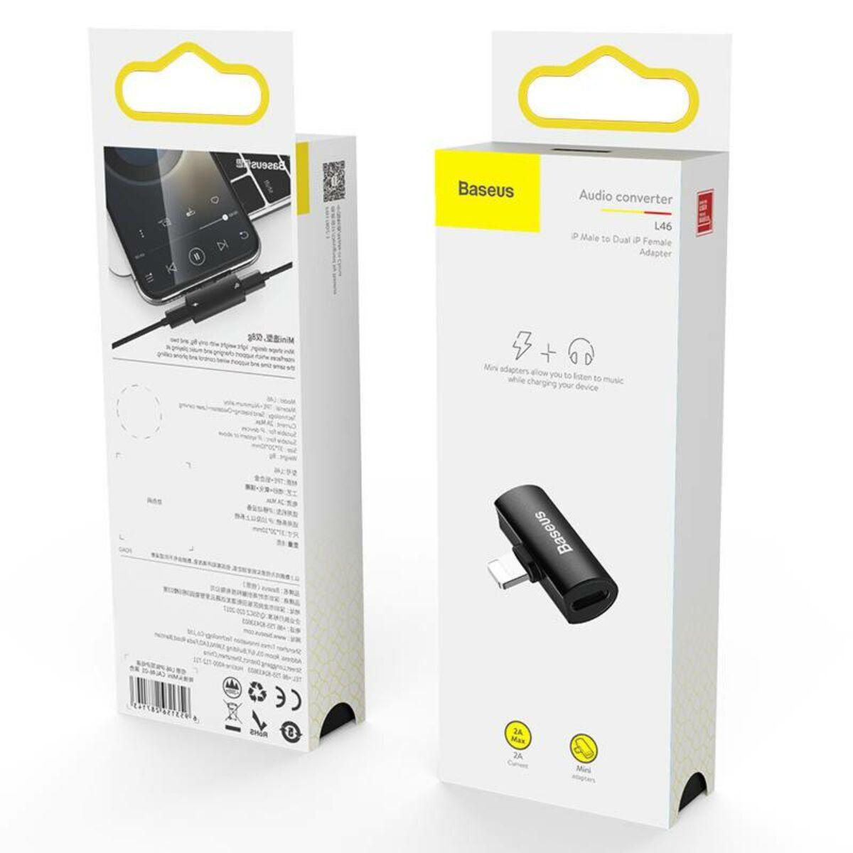 Baseus átalakító, L46 Lightning [apa] - Dual Lightning [anya] adapter fekete (CAL46-01)