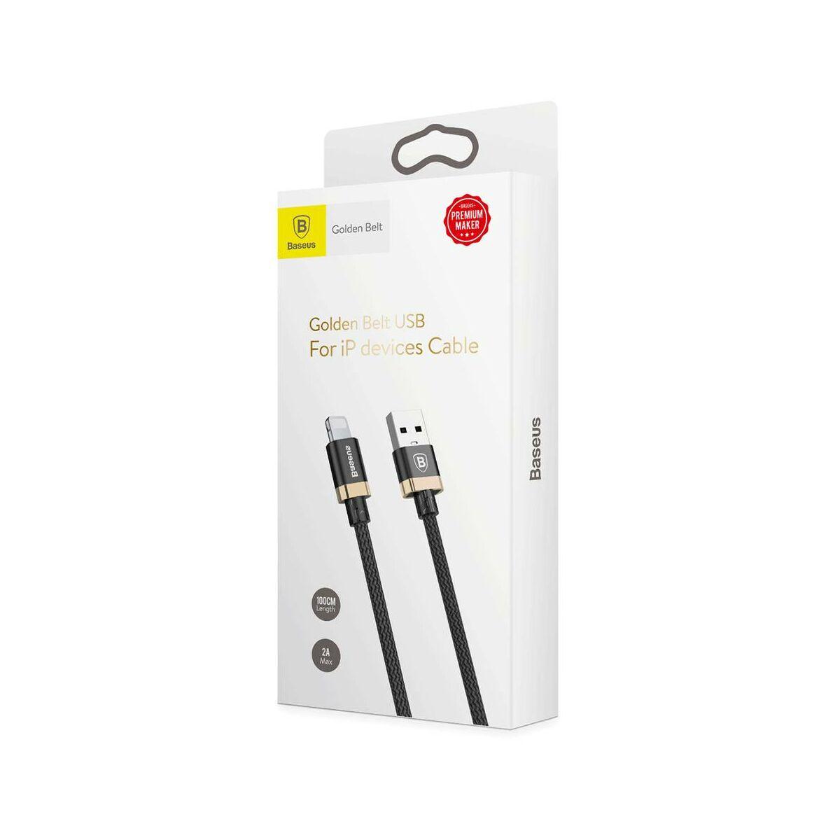 Baseus Lightning kábel, Golden Belt Series prémium 1.5m, fekete/arany (CALGB-A1V)