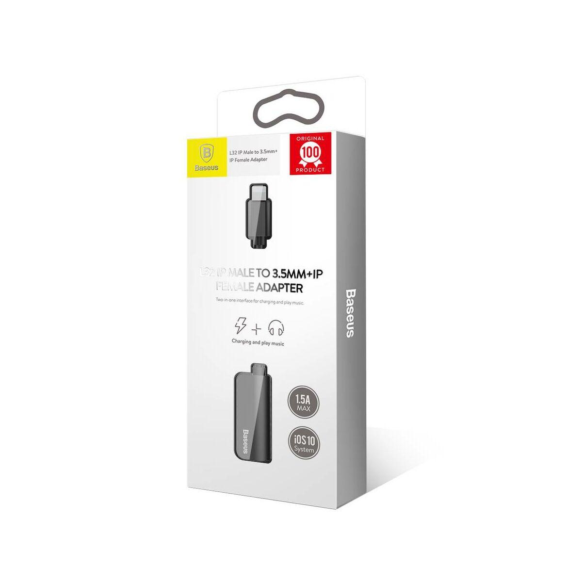 Baseus átalakító, L32 Lightning[apa] - 3.5 mm + Lightning[anya] adapter, fekete (CALL32-01)