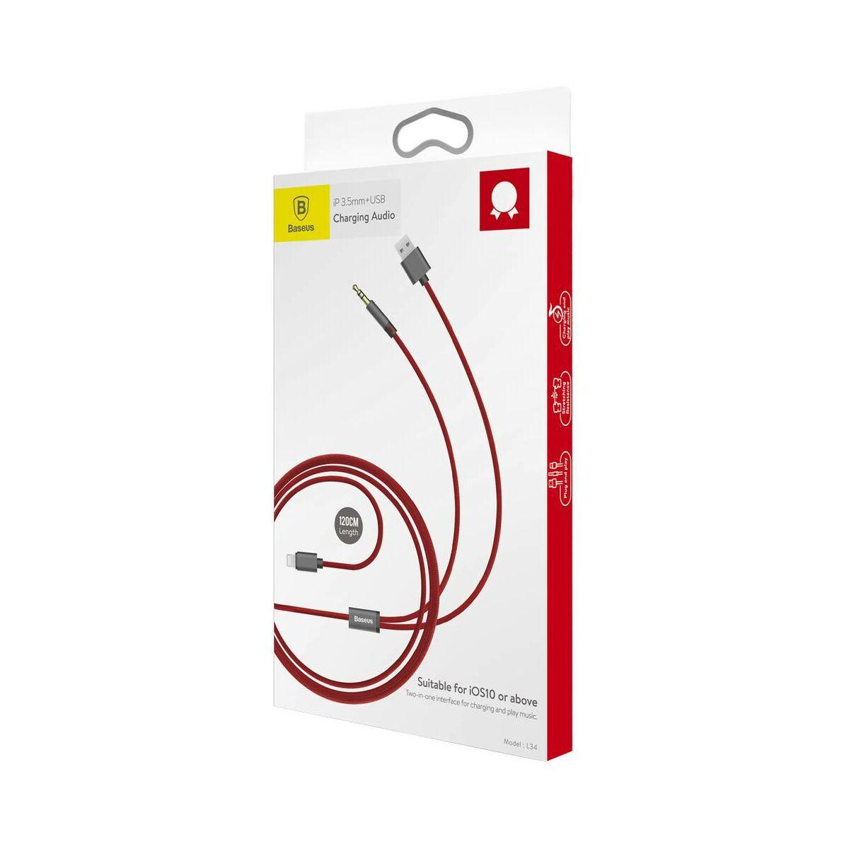 Baseus átalakító, L34 Lightning + 3.5 mm + USB töltő Audio kábel, piros (CALL34-09)