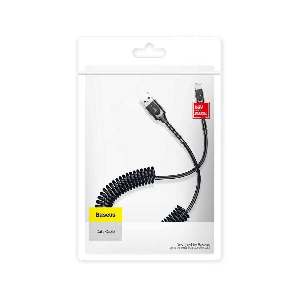 Baseus Lightning kábel, Double spring, flexibilis spirálivezeték, 2A, 1.2m, sötétszürke (CALSH-0G)