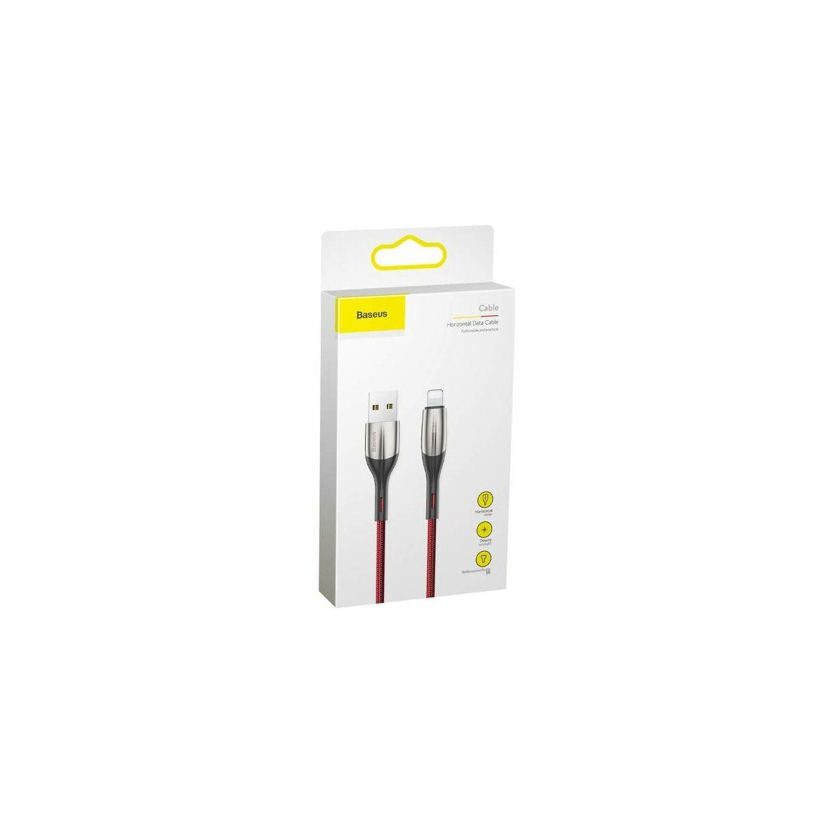 Baseus Lightning kábel, Horizontal, töltés/státusz-jelző LED, 2.4A, 1m, piros (CALSP-B09)