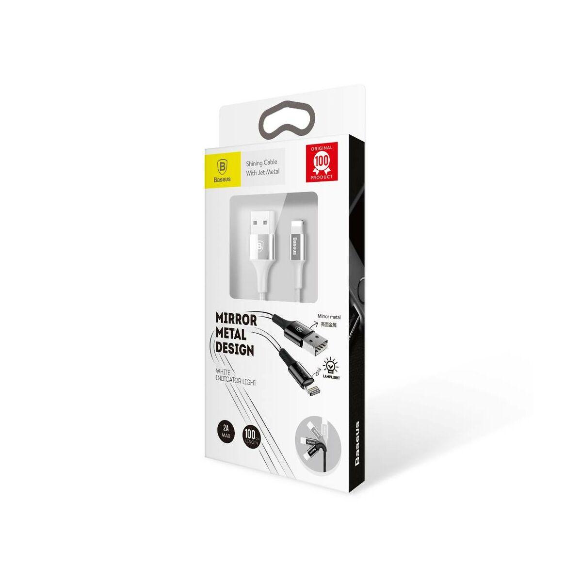 Baseus Lightning kábel, Shining LED fényes töltő csatlakozóval Jet metal 2A, 1m, ezüst (CALSY-0S)