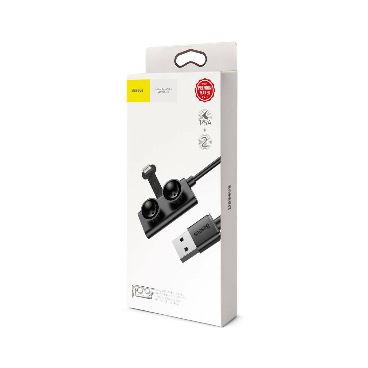Baseus Lightning Gamer tapadókoronggal fixálható töltőkábel, 1.5A, 2m, fekete (CALXP-B01)