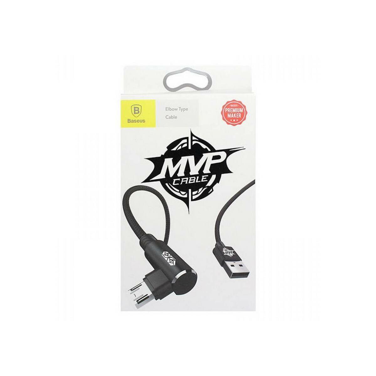 Baseus Micro USB kábel, MVP Elbow Type Mobile Game, L-alakú csatlakozó, töltés/státusz-jelző LED, 1.5A, 2 m, fekete (CAMMVP-B01)