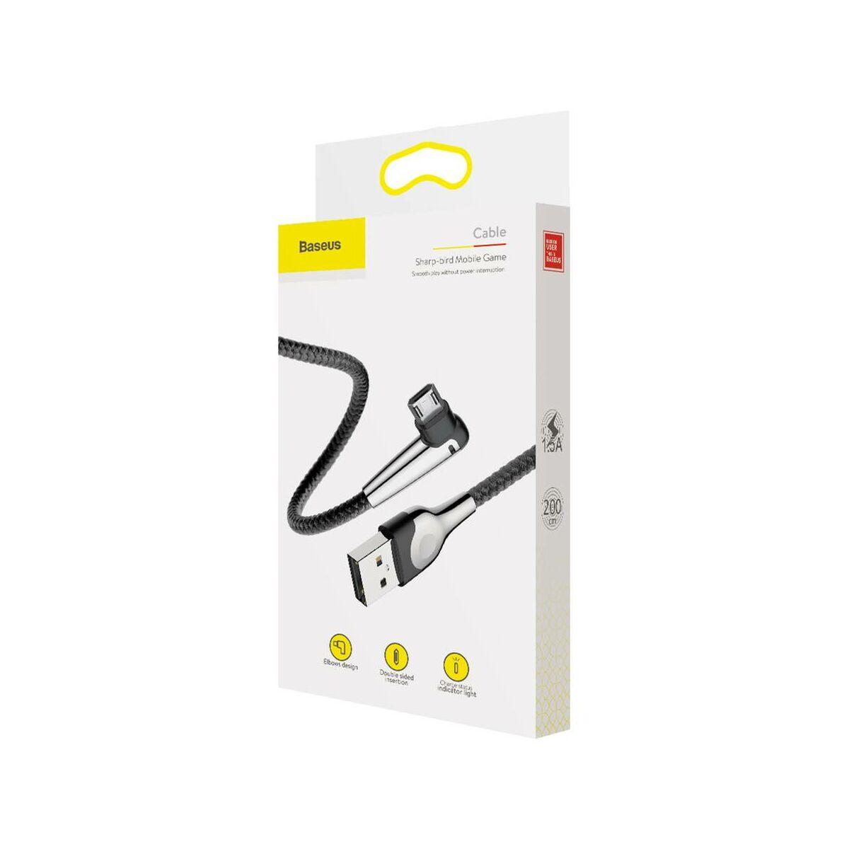 Baseus Micro USB kábel, MVP Mobile Game, L-alakú csatlakozó, töltés/státusz-jelző LED, 1.5A, 2 m, fekete (CAMMVP-F01)