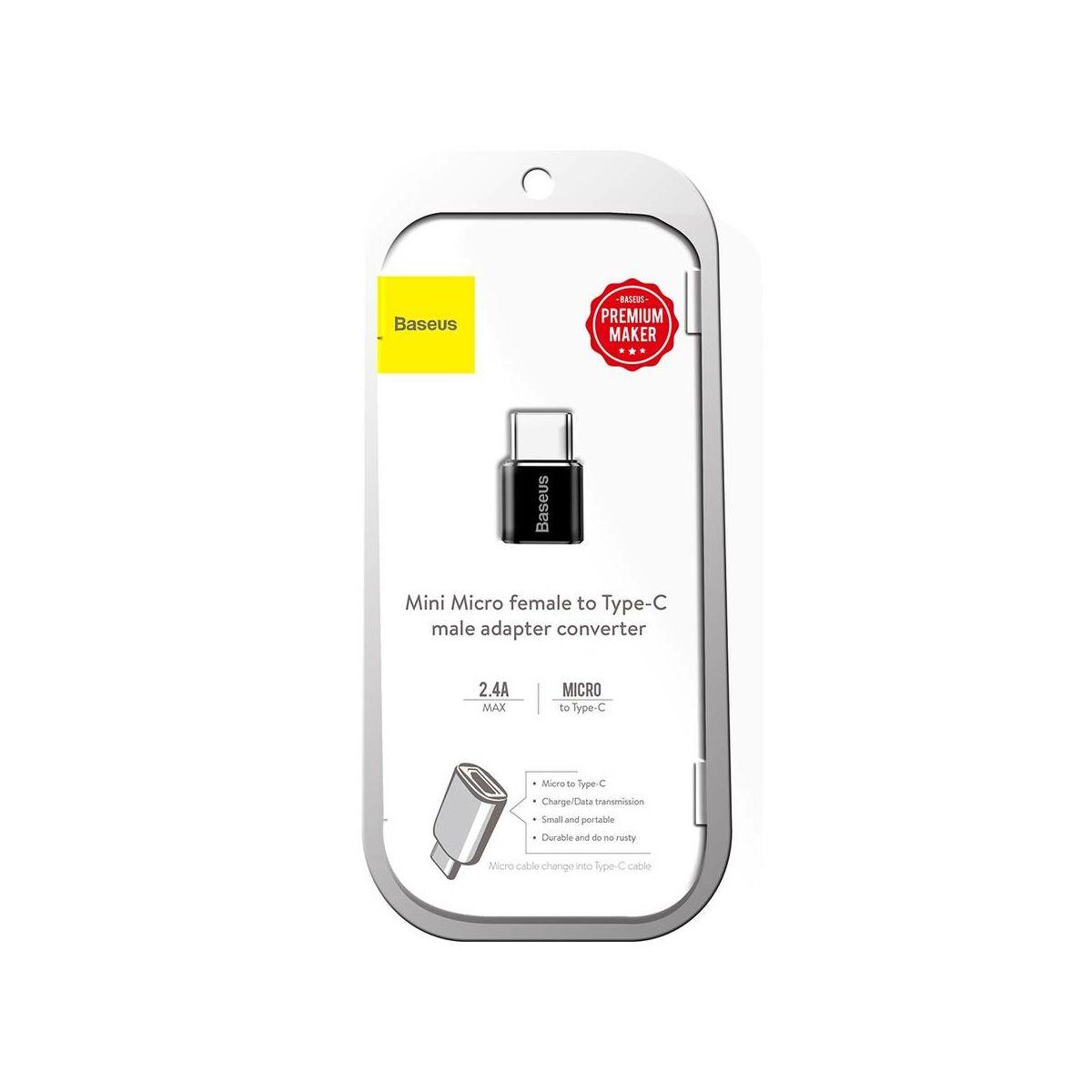 Baseus átalakító, Micro USB[anya] - Type-C[apa], fekete (CAMOTG-01)
