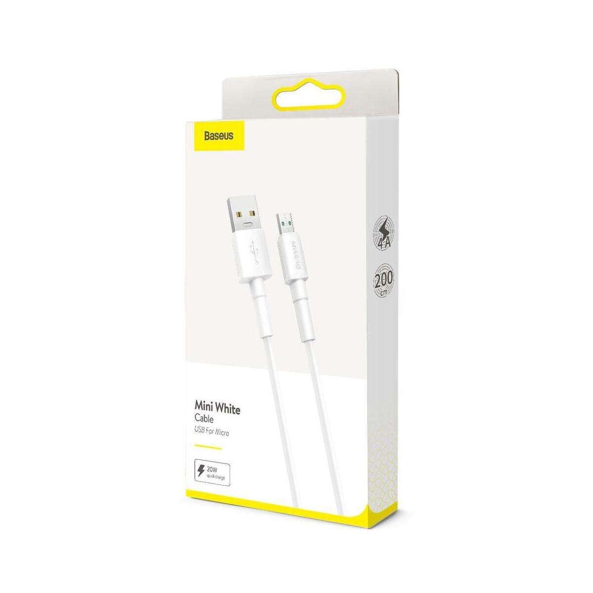 Baseus Micro USB kábel, Mini fehér, 4A, 2m, fehér (CAMSW-E02)