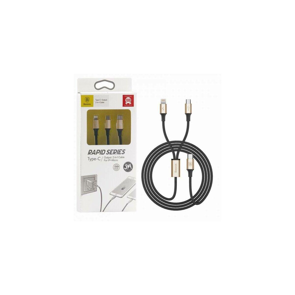 Baseus Univerzális kábel, Type-C Rapid series, 2-in-1 multifunkciós(micro USB[csak töltés] + Lightning), 3A, 1.2m, fekete/arany (CAMT-SUV1)