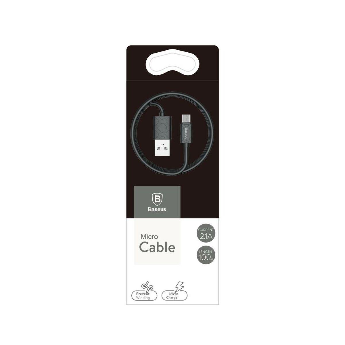 Baseus Micro USB kábel, Yaven kábel, 2.1A, 1m, fekete (CAMUN-01)