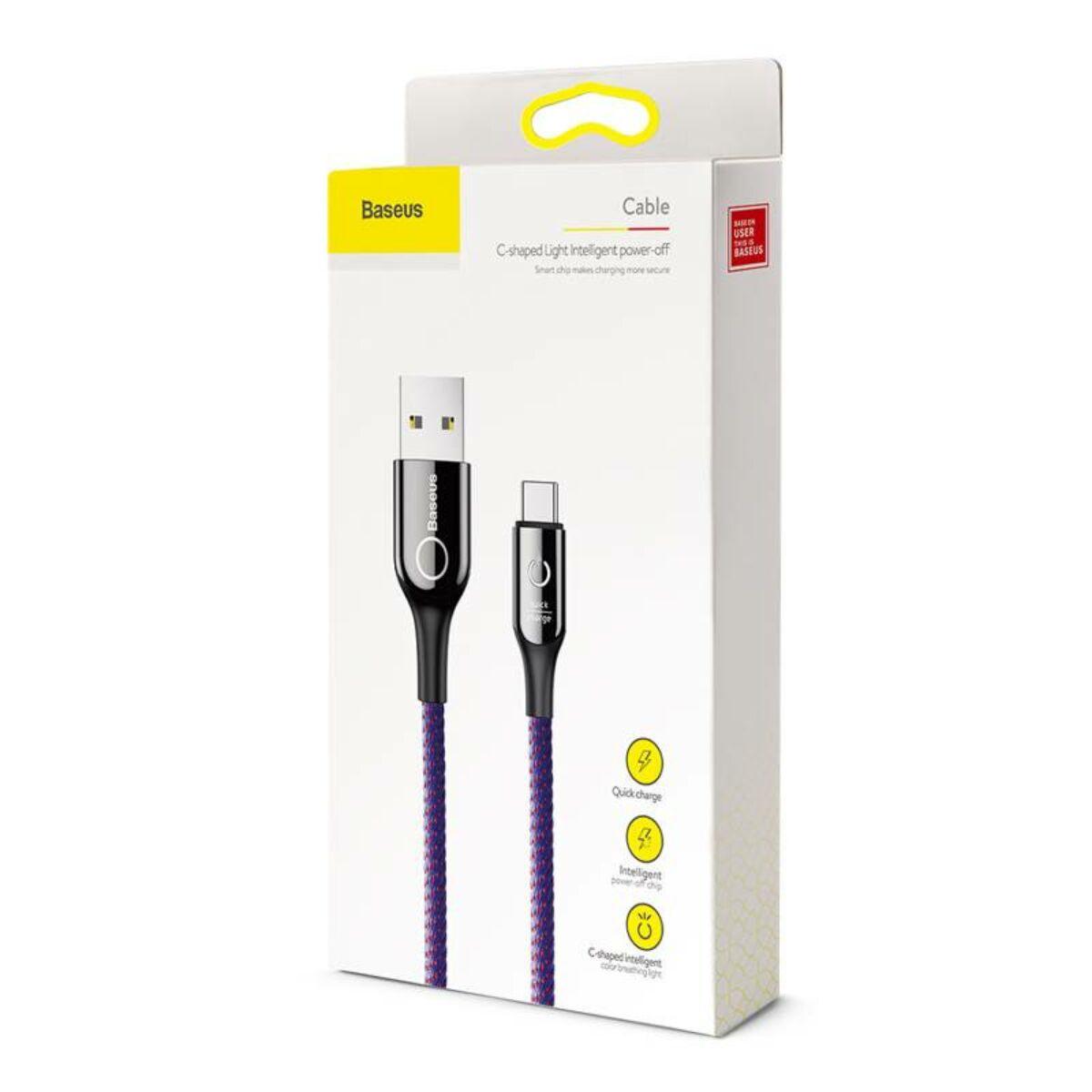 Baseus Type-C kábel, C-shaped intelligens töltés lekapcsolás, LED-visszajelzős adatkábel, QC[3.0], 3A, 1m, lila (CATCD-05)