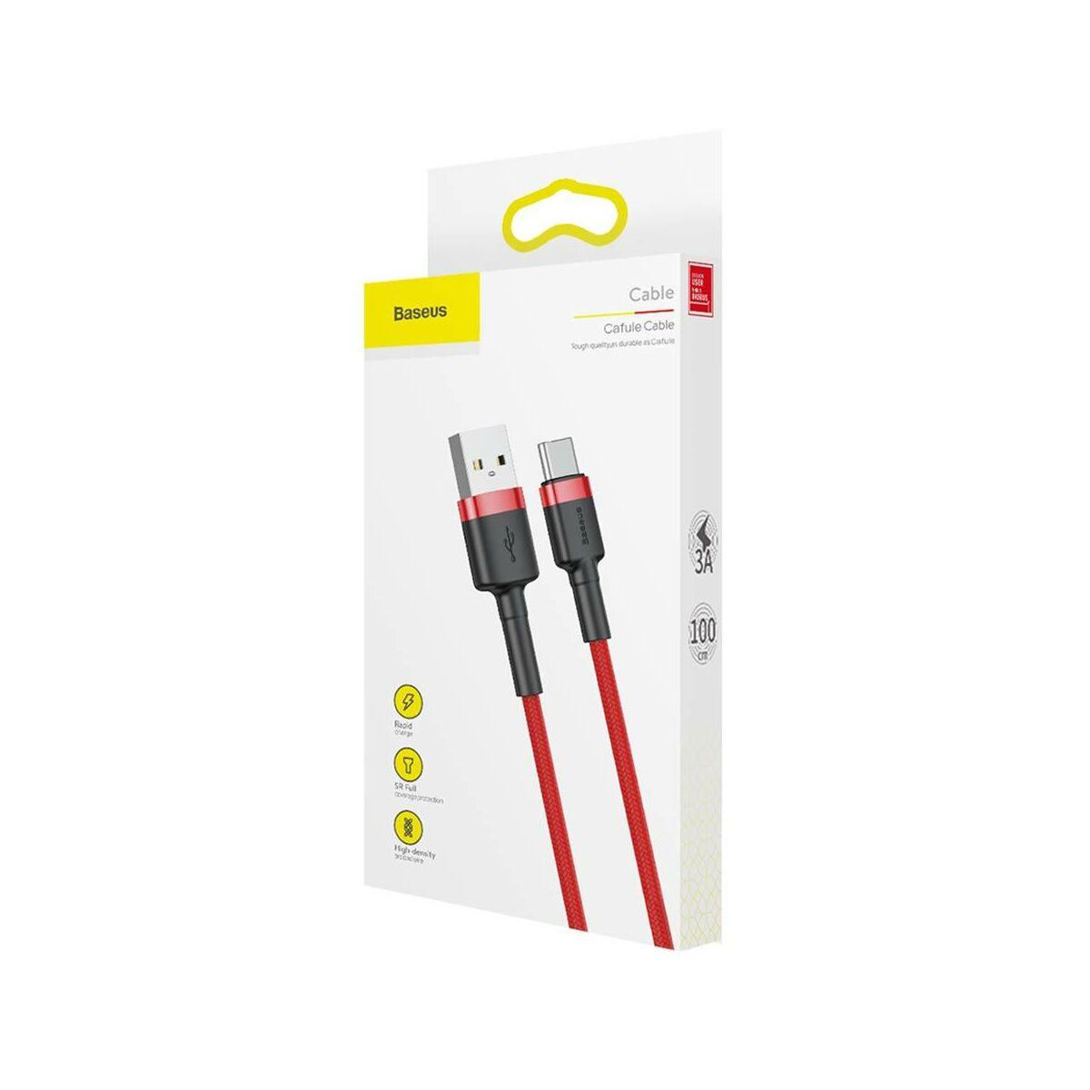 Baseus Type-C kábel, Cafule, 3A, 1m, piros/piros (CATKLF-B09)