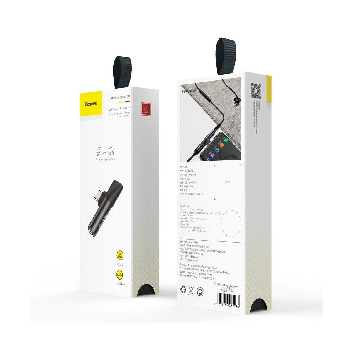 Baseus átalakító, L41 Type-C (bemenet) - Type-C + 3.5 mm, csatlakozó, fekete (CATL41-01)