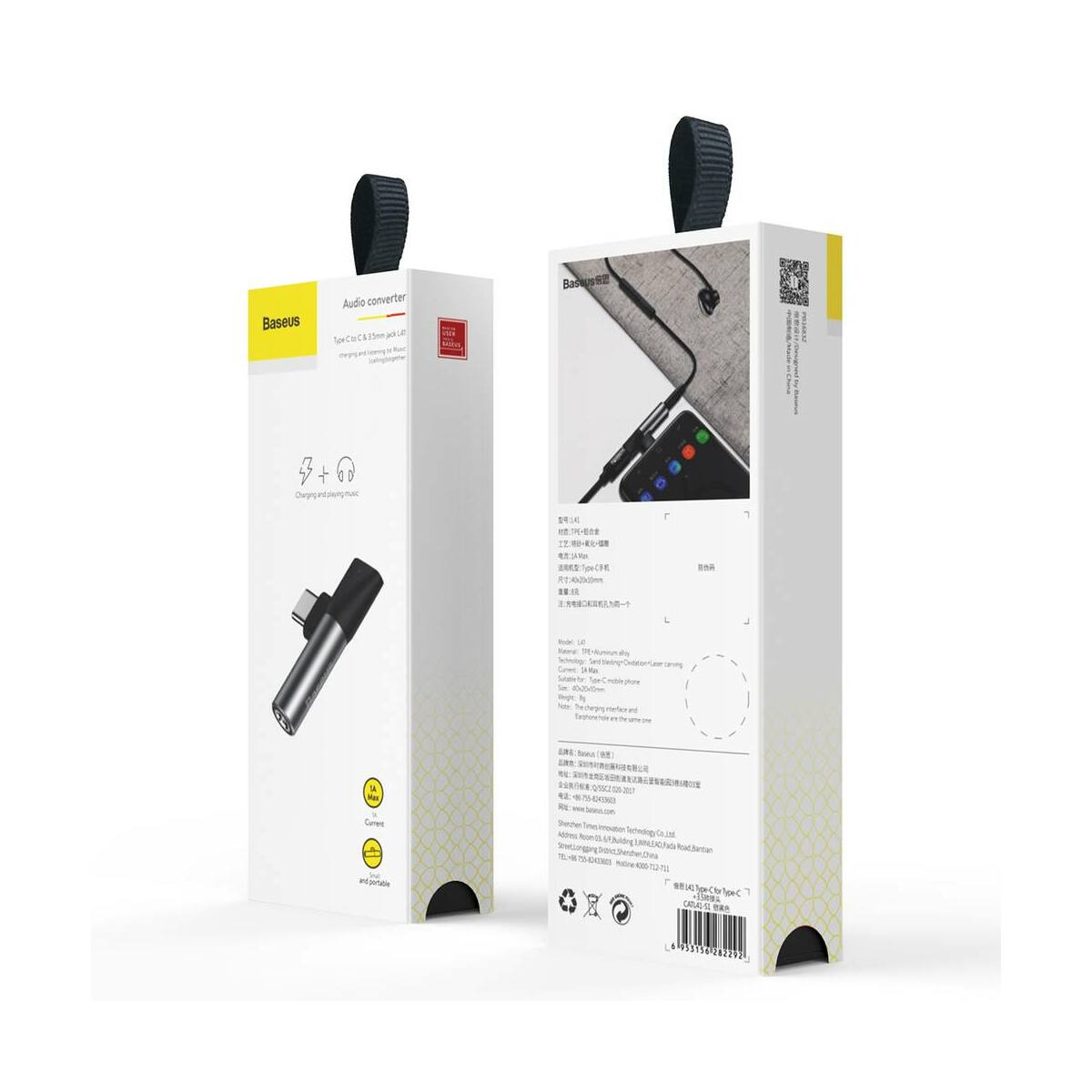 Baseus átalakító, L41 Type-C (bemenet) - Type-C + 3.5 mm, csatlakozó, ezüst/fekete (CATL41-S1)