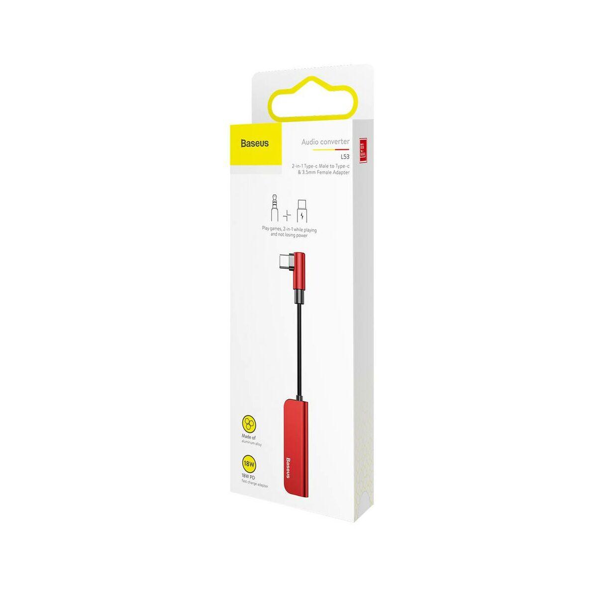 Baseus átalakító, L53 Type-C [apa] - Type-C 3.5 mm [anya] adapter, piros/fekete (CATL53-91)