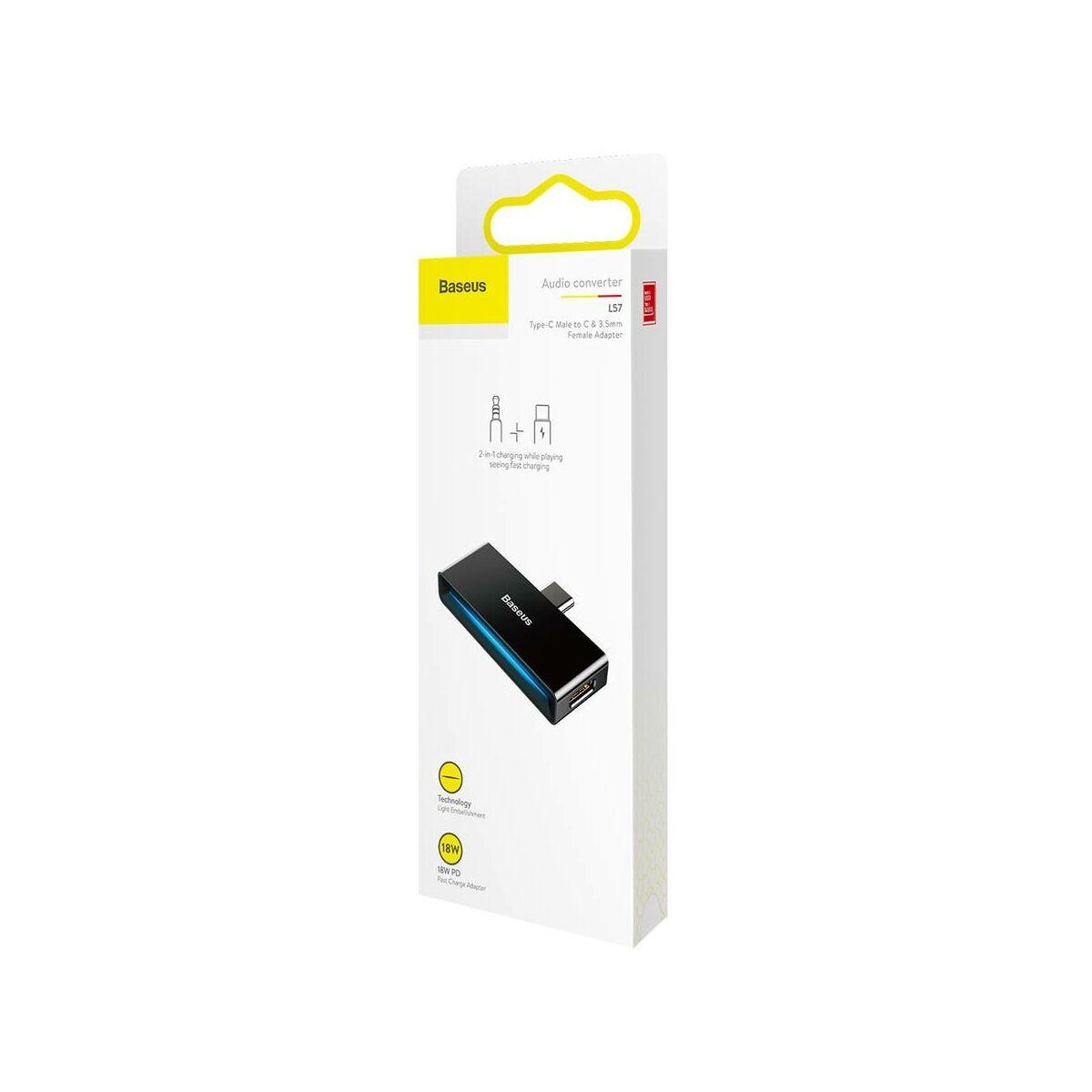 Baseus átalakító, L57 Type-C [apa] - Type-C + 3.5 mm [anya] adapter, fekete (CATL57-01)