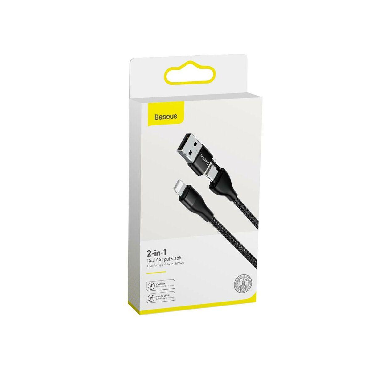 Baseus Univerzális kábel, 2-in-1 Dupla kimenetes USB-A + Type-C változtatható, Lightning töltő fejjel, 18W 1m, fekete (CATLYW-G01)