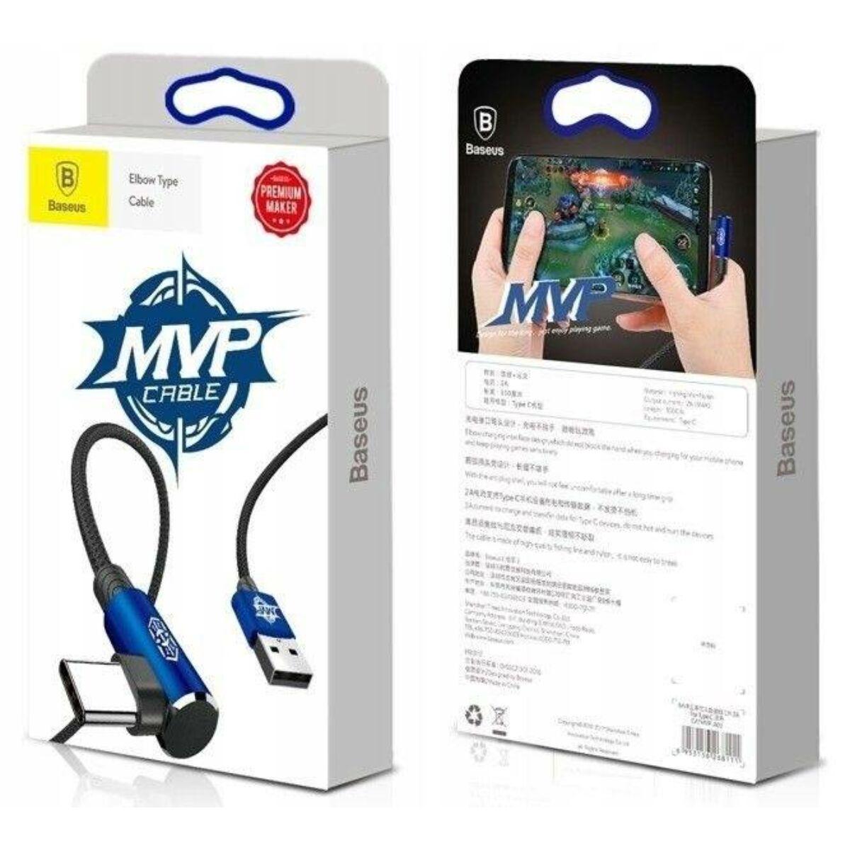 Baseus Type-C kábel, MVP Elbow, L-formájú csatlakozó, 3A, 2m, kék (CATMVP-B03)