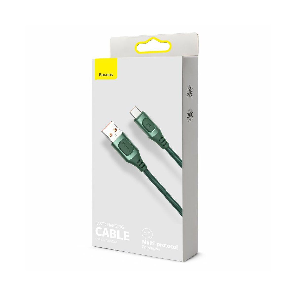 Baseus Type-C kábel, Flash Multiple, többféle gyorstöltő protokoll illesztő funkcióval, 5A, 2m, zöld (CATSS-B06)
