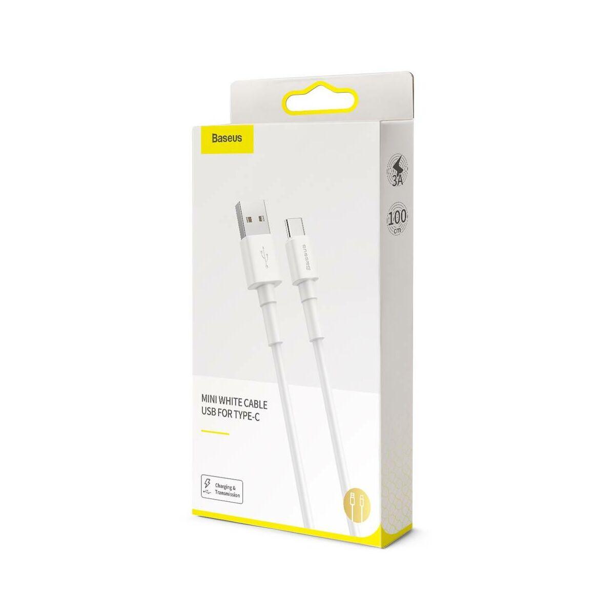 Baseus Type-C kábel, Mini 3A, 1m, fehér (CATSW-02)