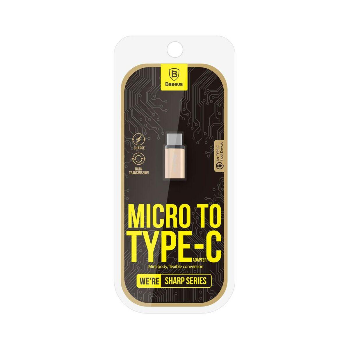 Baseus átalakító, Sharp Micro USB - Type-C, pezsgő arany (CAType-C-DL0V)