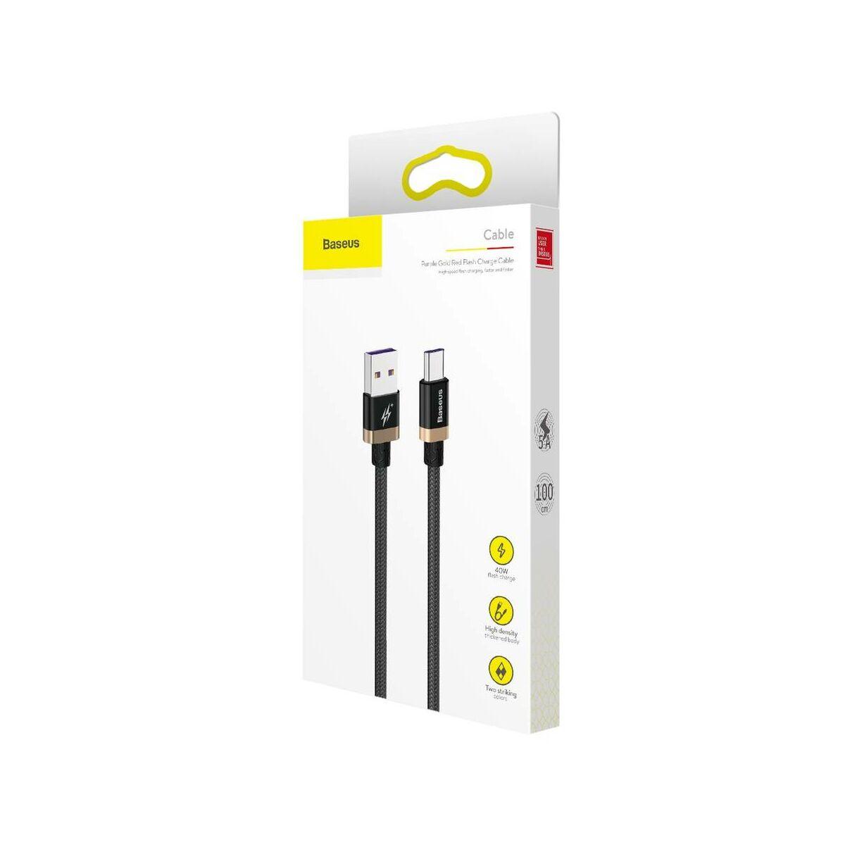 Baseus Type-C HW gyors töltő cable 40W 1m, arany/fekete (CATZH-AV1)
