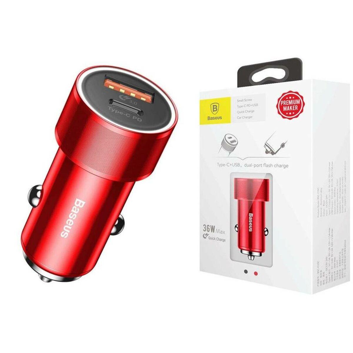 Baseus autós töltő, Small Screw Type-C PD + USB gyors töltés 36W, piros (CAXLD-A09)