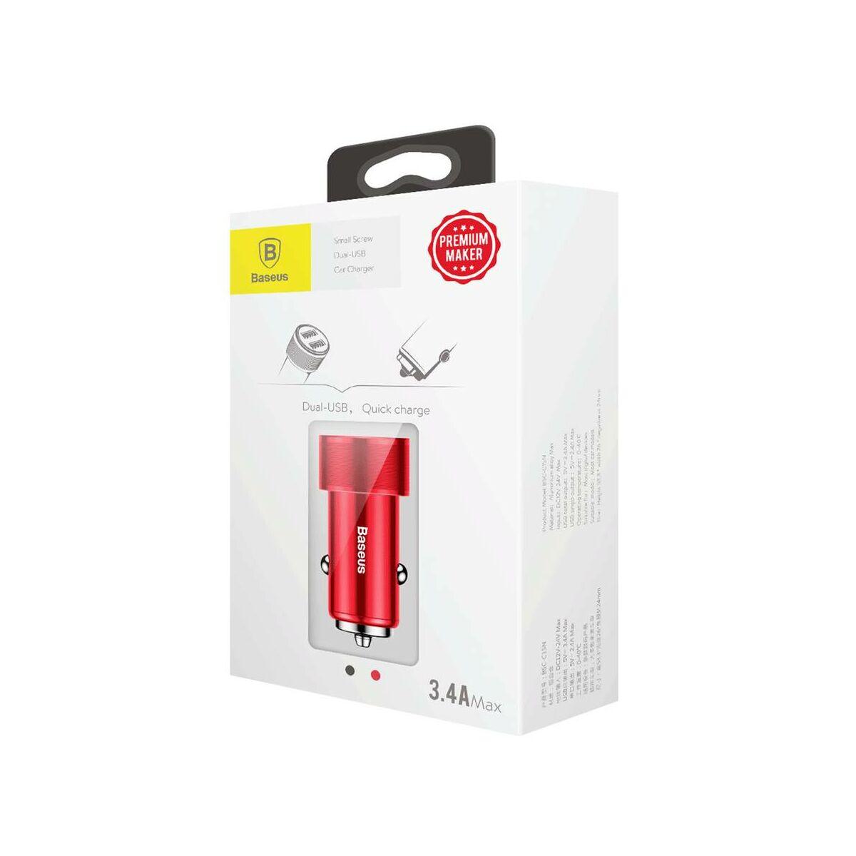 Baseus autós töltő, Small Screw 3.4A Dupla USB, piros (CAXLD-C09)