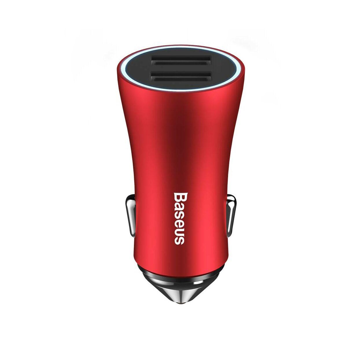 Baseus autós töltő, Golden Contactor Dupla USB intelligens, 2.4A, piros (CCALL-DZ09)