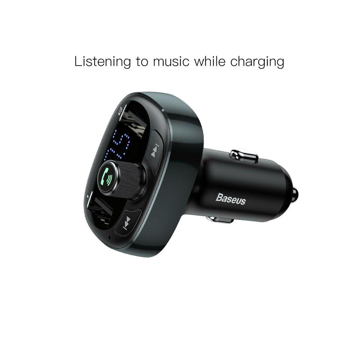 Baseus autós töltő, Bluetooth Fm Transzmitter T-Typed MP3 USB TF microSD 3.4A, matt (CCALL-TM0A)
