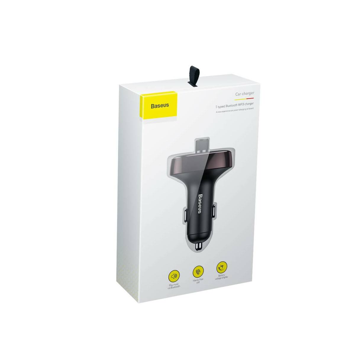Baseus autós töltő, Bluetooth Fm Transzmitter T-Typed MP3 USB TF microSD 3.4A, sötét kávé (CCALL-TM12)