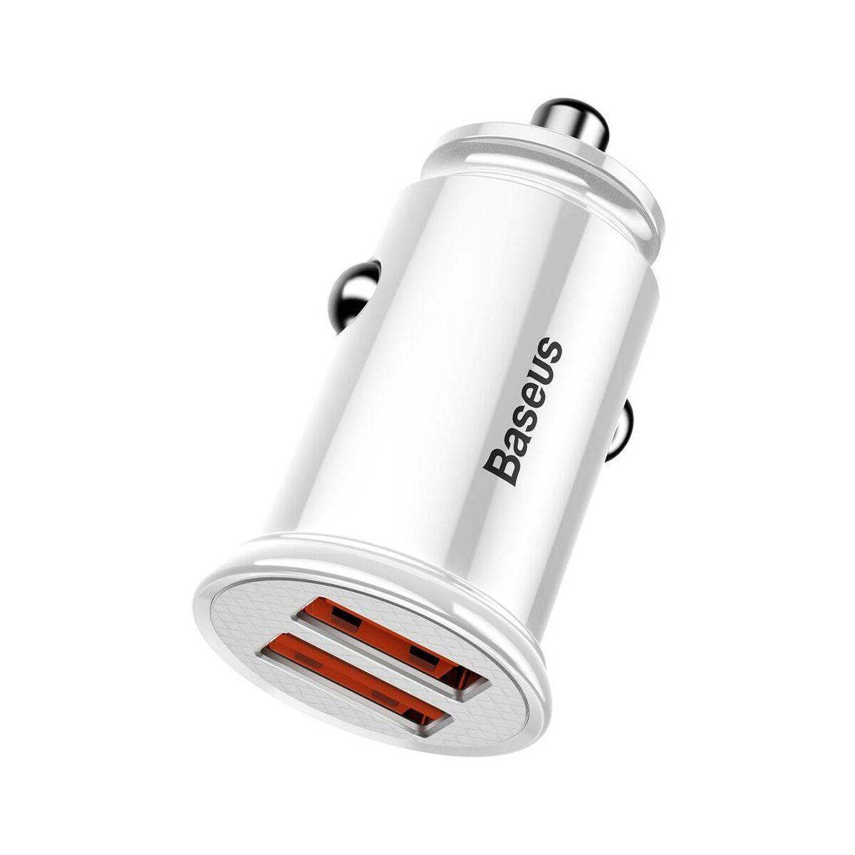 Baseus autós töltő, Dupla gyors töltés 3.0, 30W, fehér (CCALL-YD02)