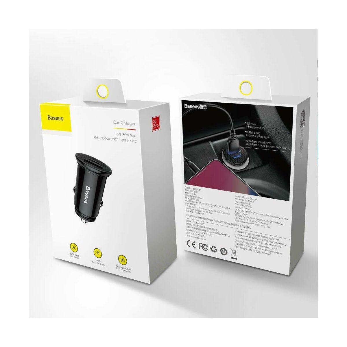 Baseus autós töltő, PPS PD3.0 + QC4.0 + 30W, fekete (CCALL-YS01)