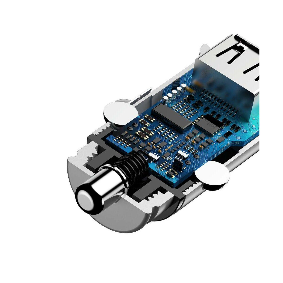 Baseus autós töltő, PPS PD3.0 + QC4.0 + 30W, fehér (CCALL-YS02)