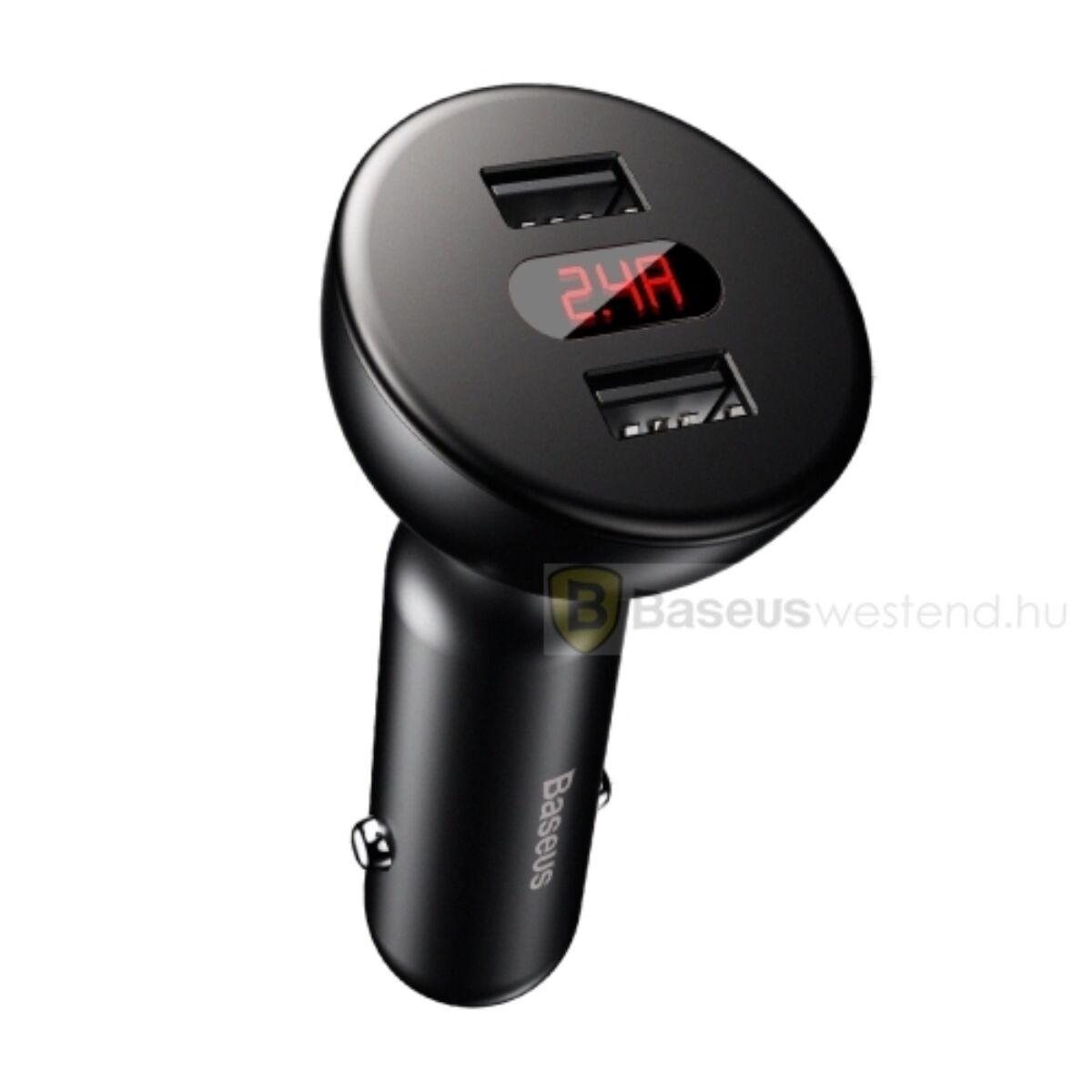 Baseus autós töltő, 360 fokban forgatható, Dupla bemenet Digitális kijelzővel, fekete (CCALL-YT01)