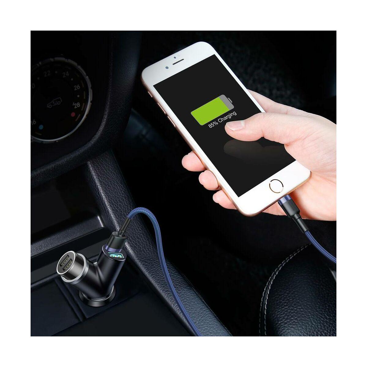 Baseus autós töltő, Y-type Dupla USB szivargyújtóval, max 3.4A, fekete (CCALL-YX01)
