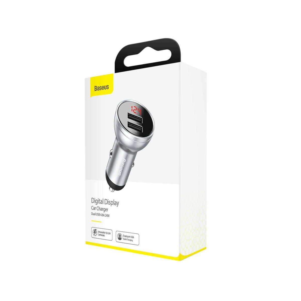 Baseus autós töltő, Digital Display Dual USB csatlakozás, digitális kijelzés, 24W 4.8A, ezüst (CCBX-0S)