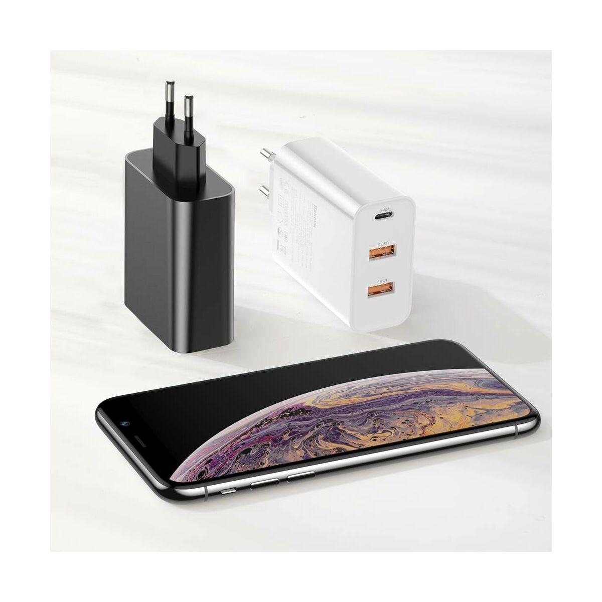 Baseus hálózati töltő, PPS három kimenetes gyors töltés (Type-C+USB+USB) max 60W EU, fehér (CCFS-G02)