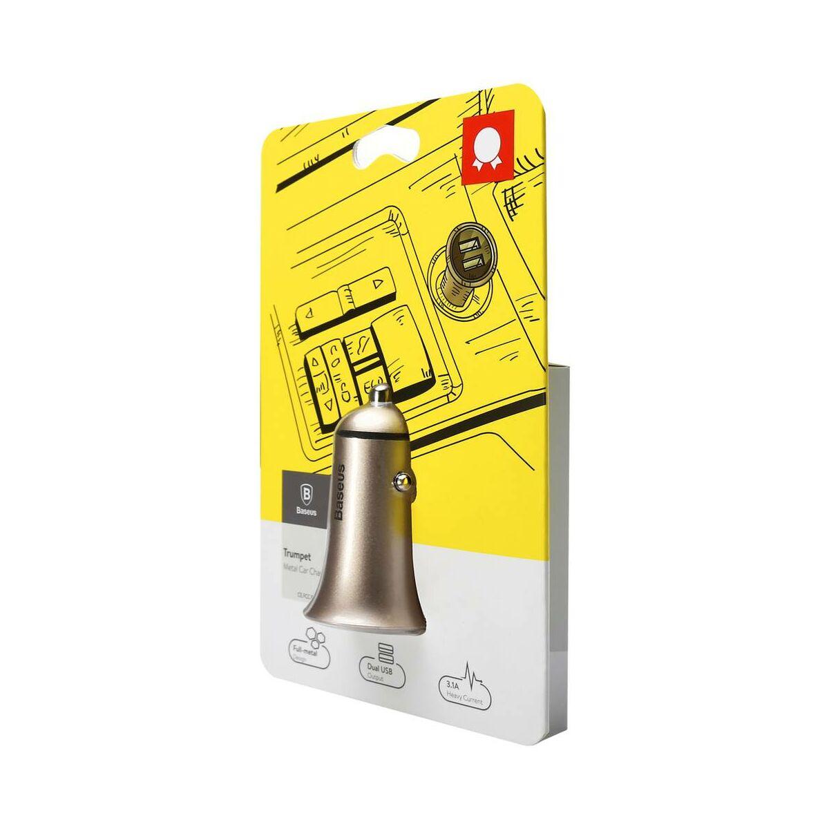 Baseus autós töltő, Trumpet metal power, max 3.1A, arany (CCLB-0V)