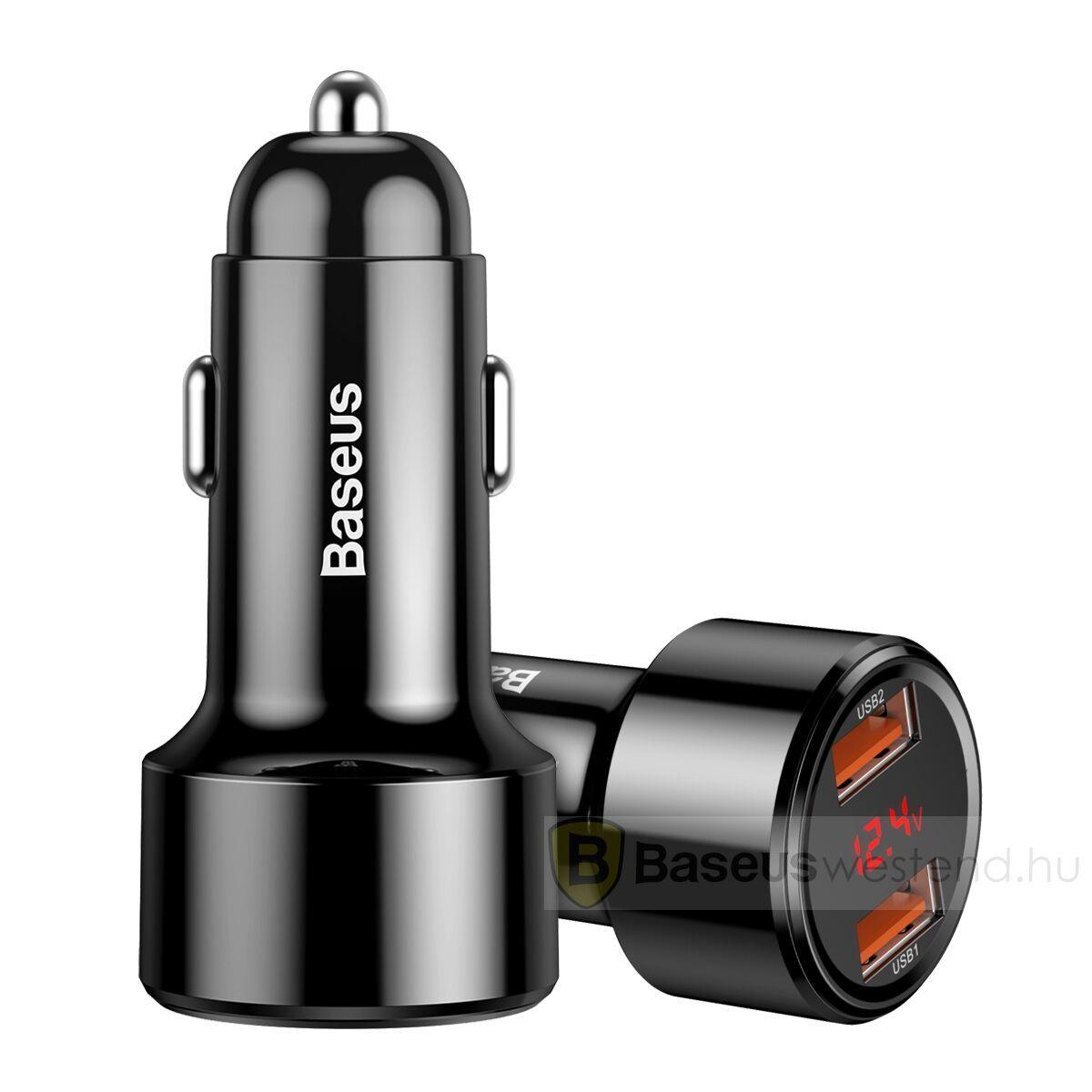 Baseus autós töltő, Magic Series Dual QC digitális kijelzővel gyors töltés, 45W, fekete (CCMLC20A-01)