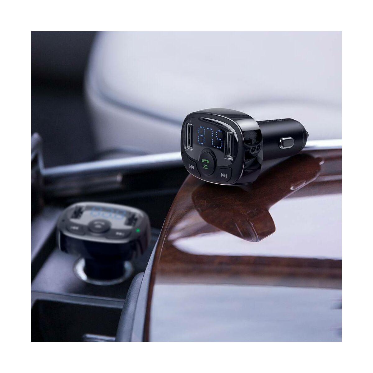 Baseus autós töltő, Bluetooth Fm Transzmitter T-Type 2xUSB MicroSD, fekete (CCTM-01)
