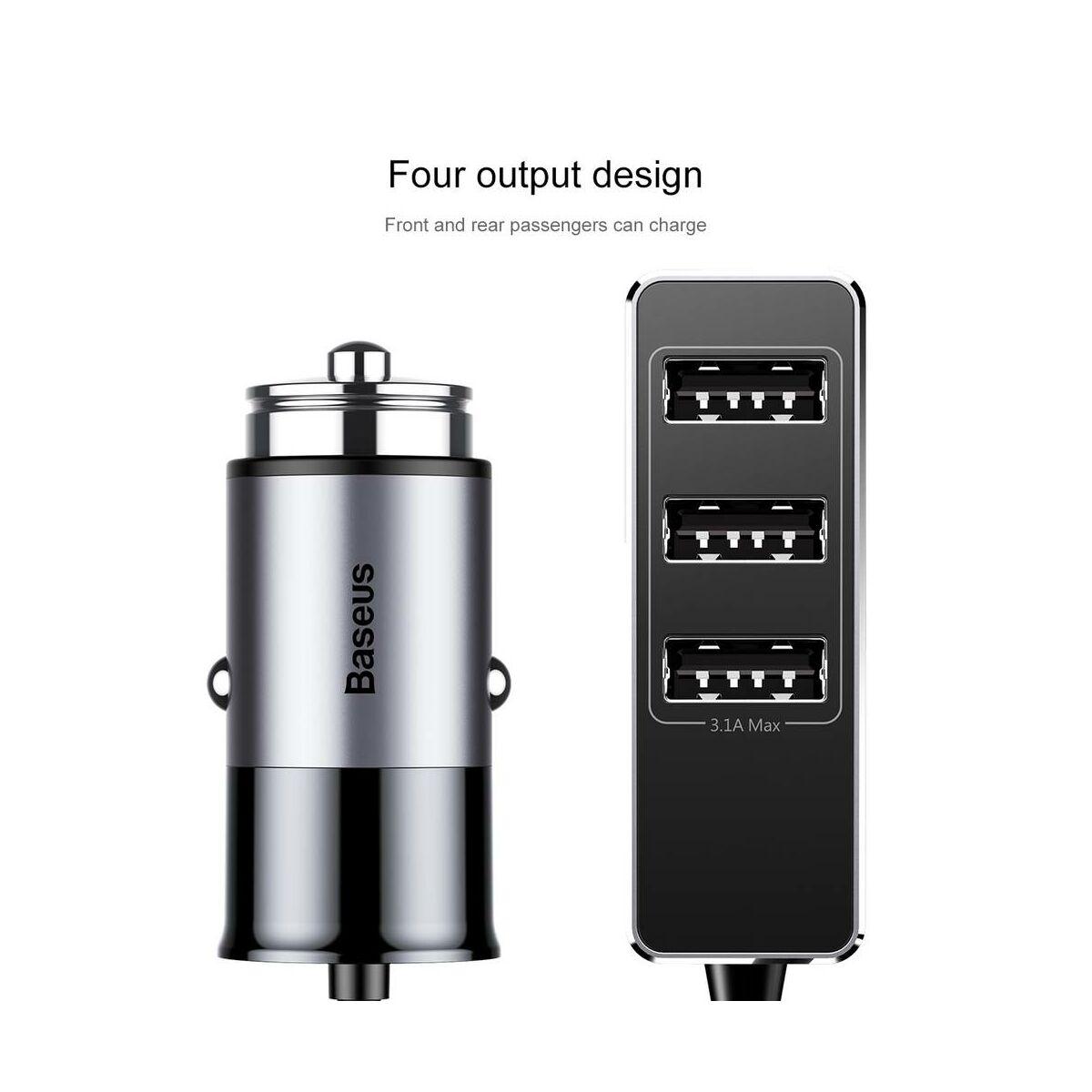Baseus autós töltő, Enjoy Together 4 kimenet, max 5.5A, sötét szürke (CCTON-0G)