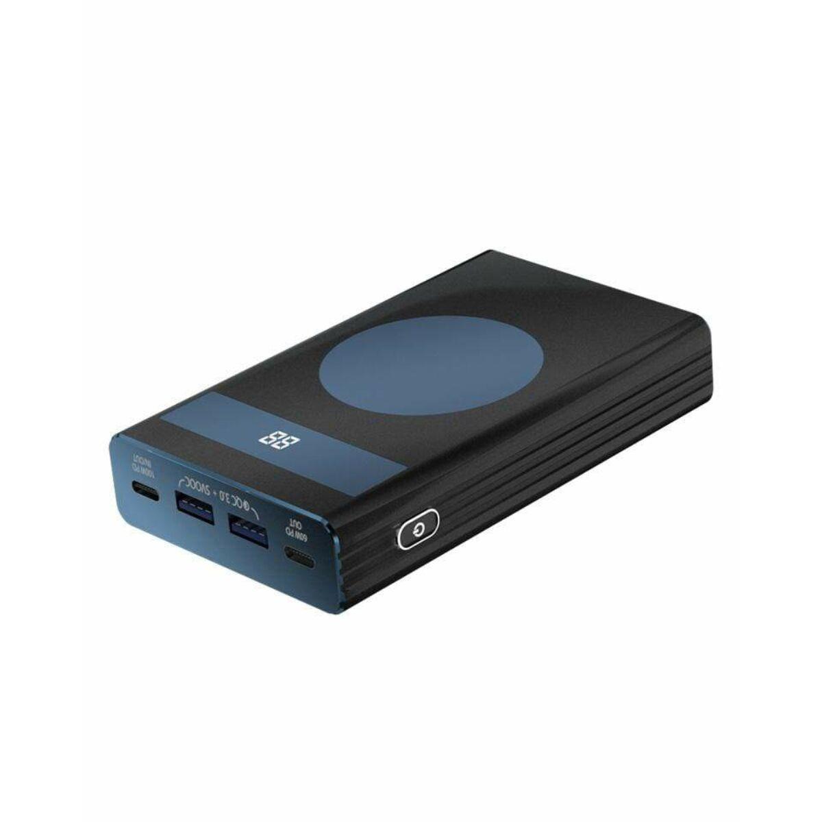Chargeasap vezeték nélküli powerbank PDQC, 60W, 20.000mAh, fekete kék