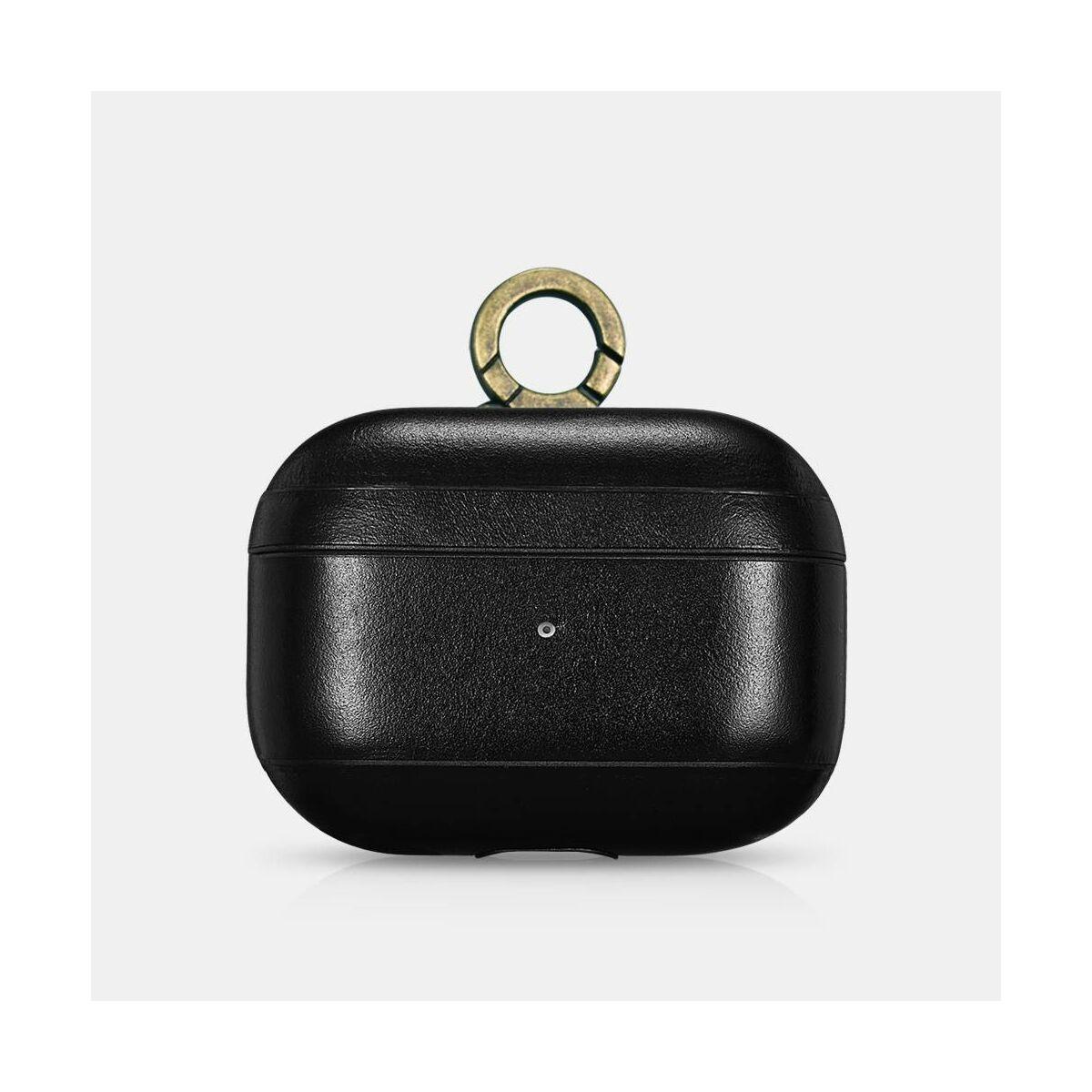 iCarer Apple Airpods Tok, Vintage Bőr (fém kampós akasztóval) fekete