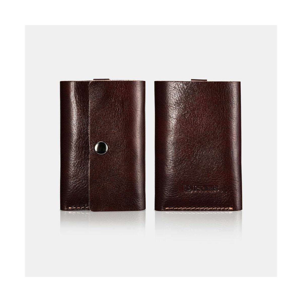 iCarer Kiegészítő Bankkártya tok, növényi cserzett bőr, kávészín