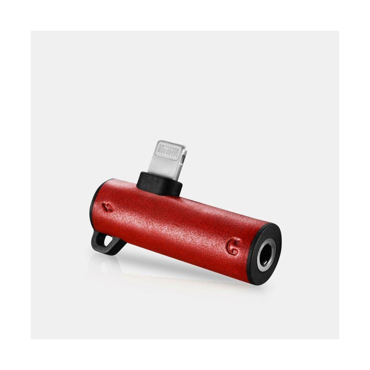 iCarer Átalakító 2-in-1 Dual  Lightning bemenetről zenehallgatáshoz és egyideőben történő töltéshez (3.5mm+Lightning), piros